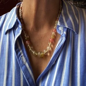 NATURAL PINK TURMALINE BUBBLE NECKLACE